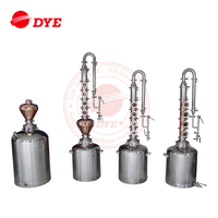 Hot sale 50L 100L 150L200L home reflux distillation equipment with 4 6 8 plates red copper coulmn