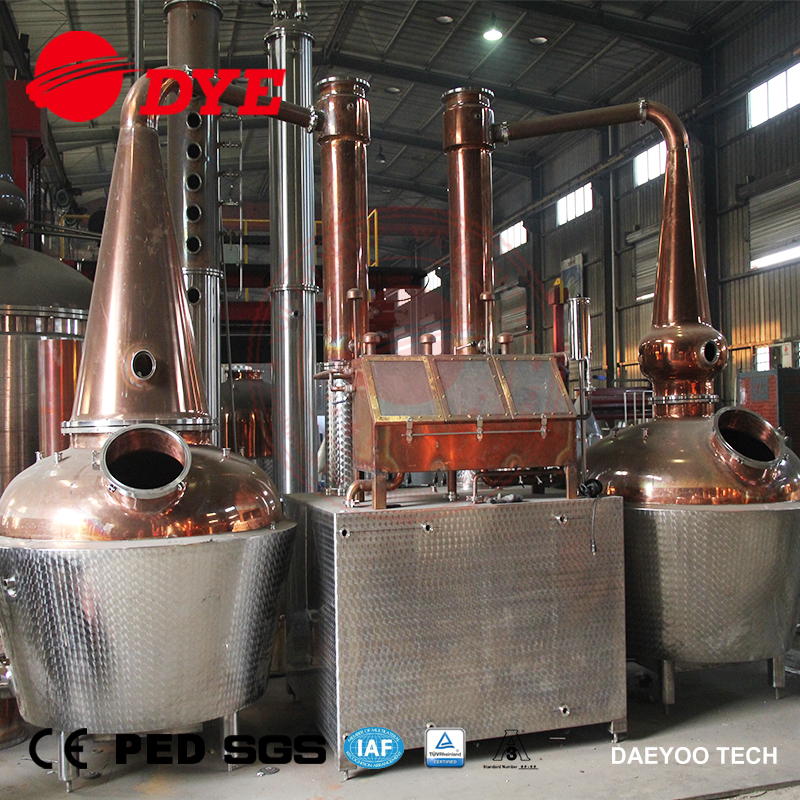 1000L Double Pot Alcohol Distillation Equipment Copper Whiskey Stripping Still for Sale